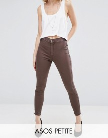 Asos Petite Rivington High Waist Denim Jeggings In Coffee Wash afbeelding