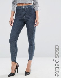 Asos Petite Rivington High Waist Denim Jeggings In Mottled Darkwash With Step Hem afbeelding