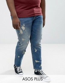 Asos Plus Slim Jeans In Vintage Mid Wash With Rips afbeelding