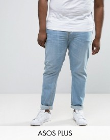 Asos Plus Stretch Slim Jeans In Light Blue Wash afbeelding