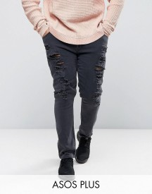 Asos Plus Super Skinny Jeans With Extreme Rips afbeelding