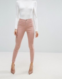 Asos Rivington High Waist Denim Jeggings In Washed Pink afbeelding