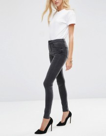 Asos 'sculpt Me' High Rise Premium Jeans In Brooklyn Washed Black afbeelding