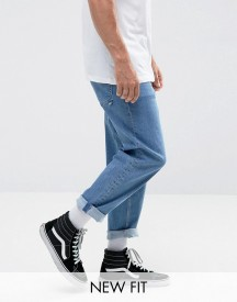 Asos Skater Jeans In Mid Wash Blue afbeelding