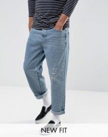 Asos Skater Jeans In Vintage Light Wash Blue afbeelding