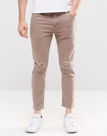 Asos Skinny Cropped Jeans With Extreme Knee Rips In Light Brown afbeelding