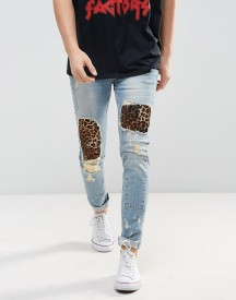 Asos Skinny Jeans In Light Wash Blue With Punk Patches And Rips afbeelding