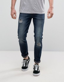 Asos Skinny Jeans In Vintage Dark Wash With Busted Knee afbeelding