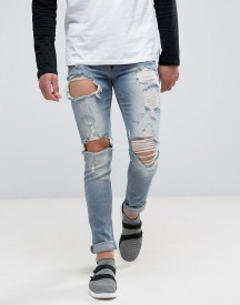 Asos Skinny Jeans In Vintage Light Wash Blue With Heavy Rips afbeelding