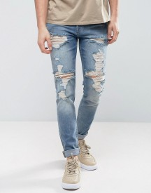 Asos Skinny Jeans In Vintage Mid Wash Blue With Heavy Rips afbeelding