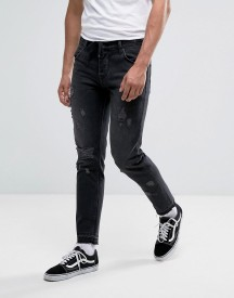 Asos Slim Ankle Grazer Jeans In Washed Black With Distressing And Drawcord afbeelding