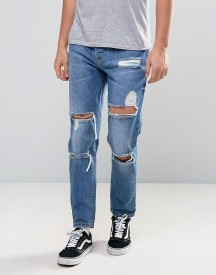 Asos Slim Ankle Grazer Jeans With Mega Rips In Mid Blue afbeelding