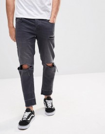 Asos Slim Cropped Jeans With Knee Rips And Released Hems afbeelding