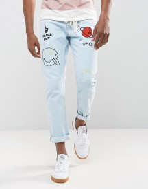 Asos Slim Jeans In Vintage Light Wash Blue With Abrasions And Embroidery afbeelding