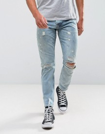 Asos Slim Jeans In Vintage Light Wash With Rips afbeelding