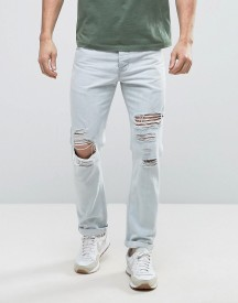 Asos Slim Jeans With Mega Rips In Bleach Wash Blue afbeelding
