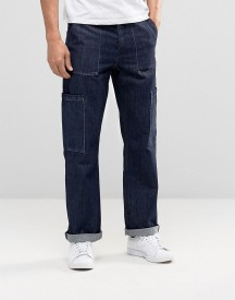 Asos Straight Jeans With Cargo Detail In Indigo afbeelding
