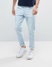 Asos Stretch Slim Ankle Grazer Jeans In Heavy Bleach Wash Blue afbeelding