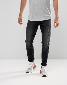 Asos Stretch Slim Jeans In 12.5oz Washed Black With Rips afbeelding