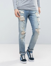 Asos Stretch Slim Jeans In Vintage Mid Wash With Heavy Rips afbeelding