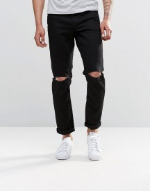 Asos Stretch Slim Jeans With Knee Rips In Black afbeelding