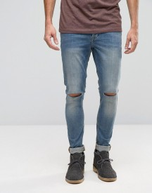 Asos Super Skinny 12.5oz Jeans With Knee Rips In Light Blue afbeelding