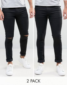 Asos Super Skinny Jeans 2 Pack In Black & Black With Knee Rips Save afbeelding