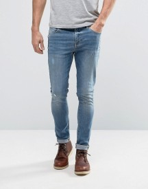 Asos Super Skinny Jeans In 12.5oz Light Blue afbeelding