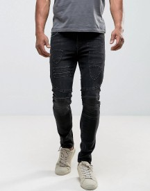 Asos Super Skinny Jeans In Washed Black Biker With Patches And Hem Detail afbeelding