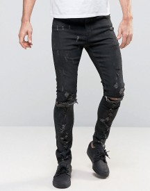 Asos Super Skinny Jeans With Abrasions And Knee Zip Rips In Black Coating afbeelding