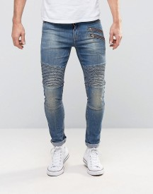 Asos Super Skinny Jeans With Double Zip And Biker Details In Mid Blue Wash afbeelding