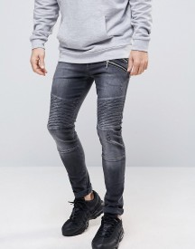 Asos Super Skinny Jeans With Double Zip And Biker Details In Washed Black afbeelding