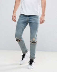 Asos Super Skinny Jeans With Knee Zip Rips In Dusty Bleach afbeelding