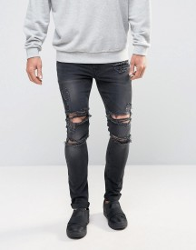 Asos Super Skinny Jeans With Mega Rips In Washed Black afbeelding