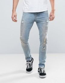 Asos Super Skinny Re-made Jeans With Rips And Repairs In Bleach Wash afbeelding