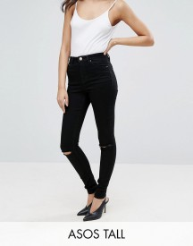 Asos Tall Ridley Skinny Jeans In Clean Black With Rips afbeelding
