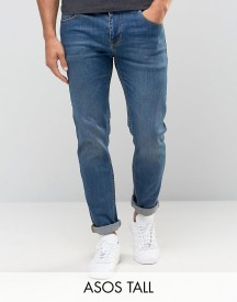 Asos Tall Stretch Slim Jeans In Mid Wash afbeelding