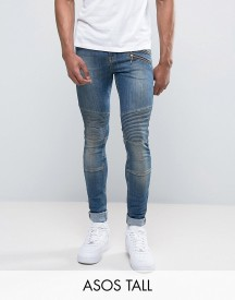 Asos Tall Super Skinny Jeans With Double Zip And Biker Details In Mid Blue Wash afbeelding