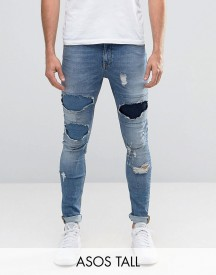 Asos Tall Super Skinny Jeans With Rips In Mid Wash afbeelding