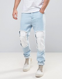 Asos Tapered Jeans In Bleach Blue With Cargo Rip Detail afbeelding