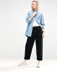 Asos White Denim Jean With Tie Waistband In Washed Black afbeelding