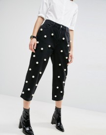 Asos White Pearl Embellished Jeans afbeelding