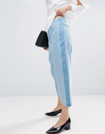 Asos White Relaxed Fit Jeans With Contrast Side Stripe In Multi Tone Wash afbeelding