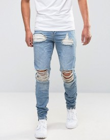 Avior Skinny Distressed Jeans With Zips afbeelding