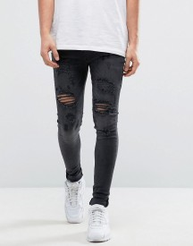 Bee Inspired Super Skinny Jeans With Distressing In Black afbeelding