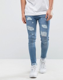 Bee Inspired Super Skinny Jeans With Distressing In Light Blue afbeelding