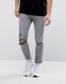 Bershka Skinny Jeans In Grey With Raw Hem afbeelding