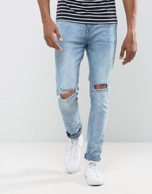 Bershka Skinny Jeans With Knee Rips In Light Blue Wash afbeelding