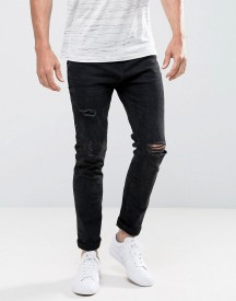 Bershka Skinny Jeans With Rips In Black Wash afbeelding