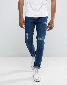 Bershka Skinny Jeans With Rips In Mid Wash afbeelding